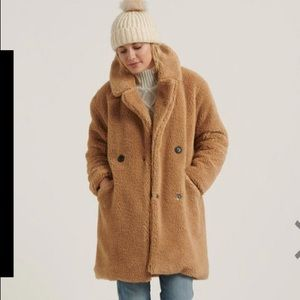 NEW Lucky Brand Missy Teddy Bear Coat XL Camel Tan